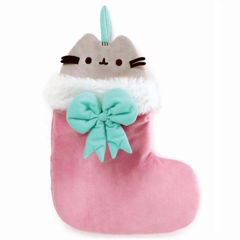 Plyšová kočička Pusheen v ponožce s mašlí 46 cm