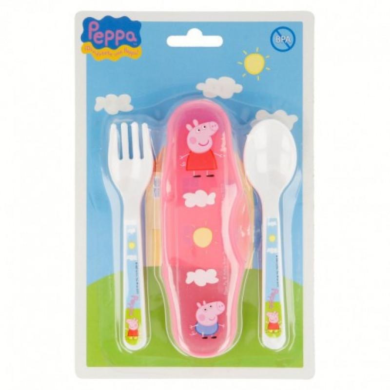 Dětský příbor s pouzdrem Peppa Pig / Prasátko Pepa / lžička + vidlička