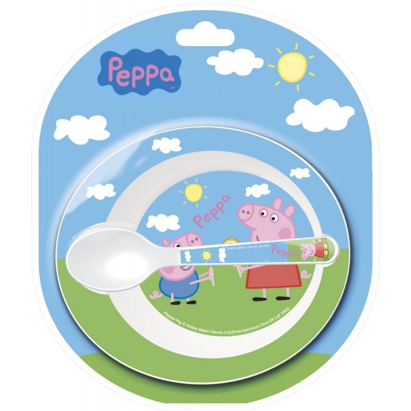 Jídelní set Miska + lžička Peppa Pig / prasátko Pepa / ⌀ 14 cm