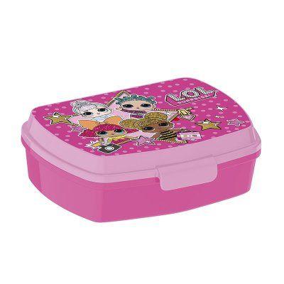 Dívčí plastový lunch box / krabička na svačinu LOL Surprise růžová 12 x 17 x 6 cm