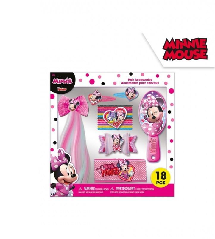 Set vlasových potřeb Minnie Mouse / sponky, gumičky, kartáč, látková čelenka