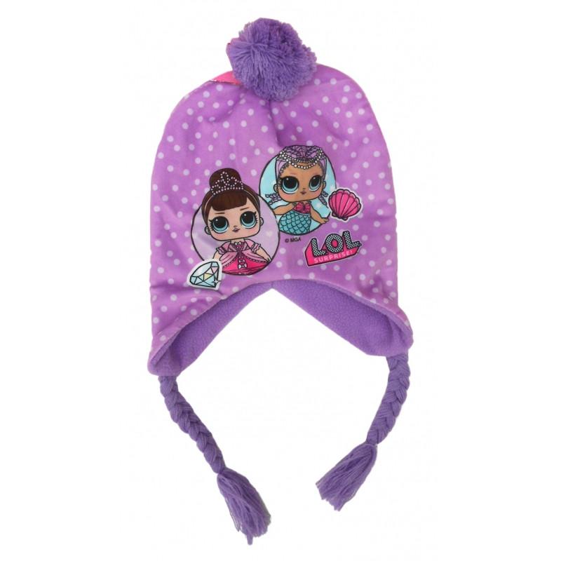 Podzimní   Zimní čepice fialová LOL Surprise   54 cm   veci z filmu a3da2c1446