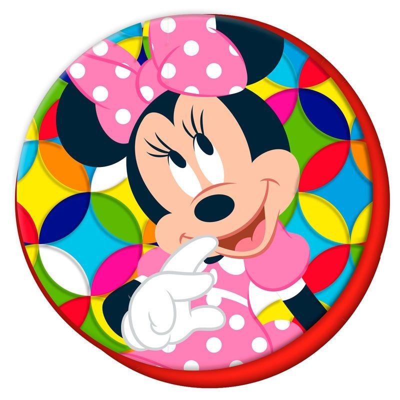 Dívčí velurový kulatý polštář Myška Minnie / Minnie Mouse 40 cm