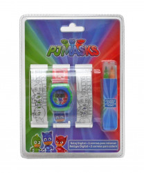 Digitální hodinky Pyžamasky / PJ Masks a náhradní náramky k vybarvení + fixy