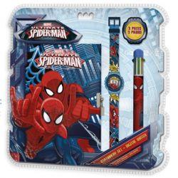 Sada s pavoučím mužem Spidermanem / diář digitální hodinky a vícebarevná propiska