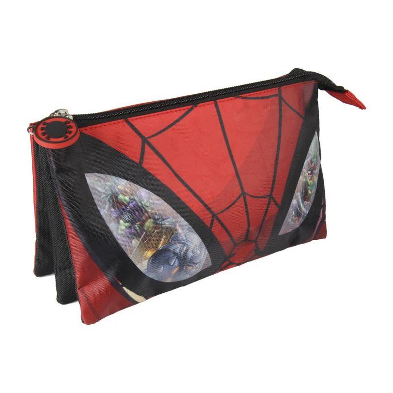 Chlapecký penál / taštička se třemi přihrádkami Spiderman 22 x 12 cm