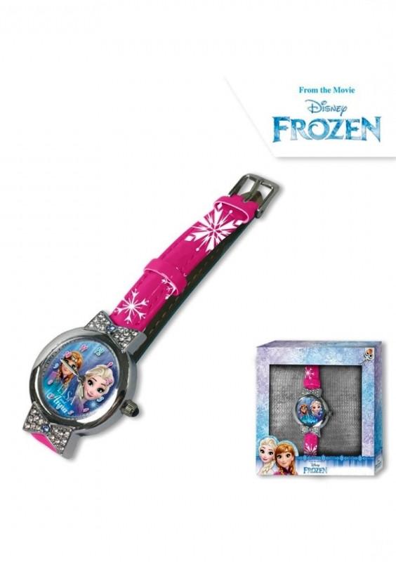 Dívčí růžové analogové hodinky v krabičce Ledové Království / Frozen / Anna a Elsa