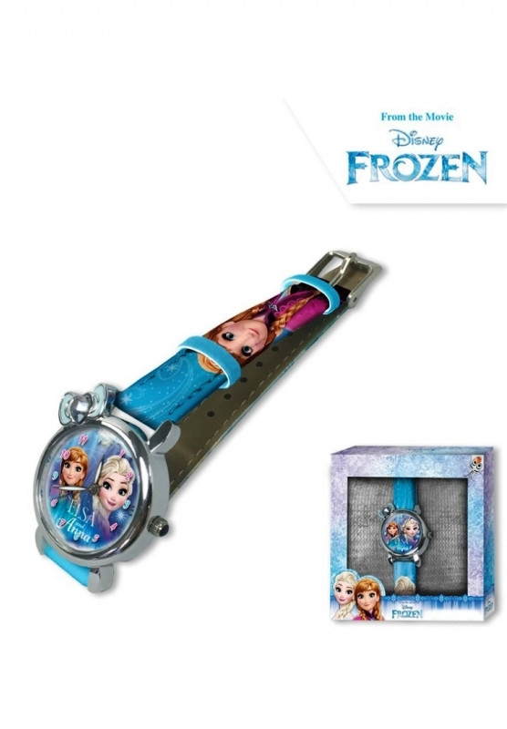 Dívčí modré analogové hodinky v krabičce Ledové Království / Frozen / Anna a Elsa