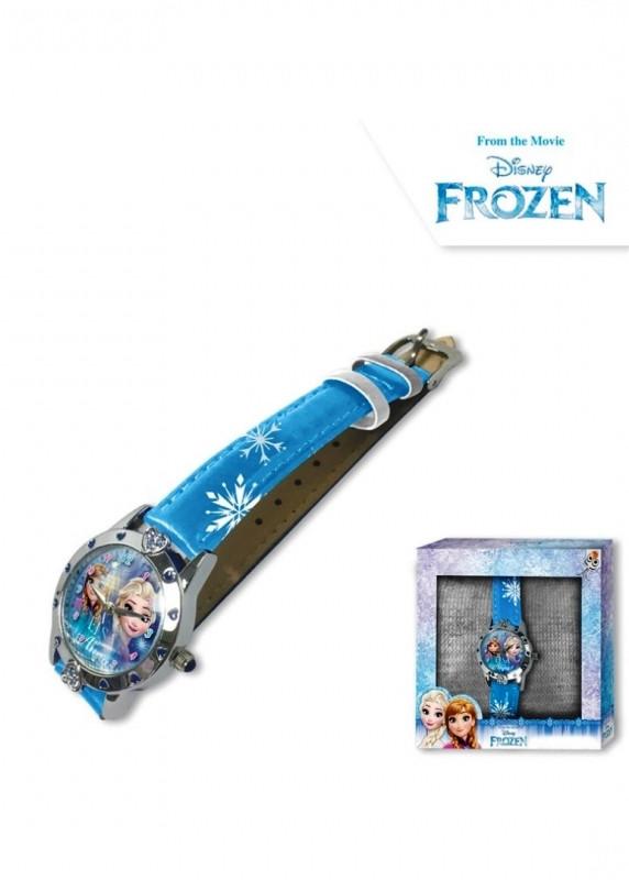 Dívčí modré analogové hodinky v krabičce Ledové Království / Frozen / Anna a Elsa / vločky