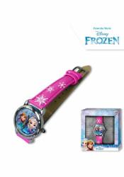 Dívčí růžové analogové hodinky v krabičce Ledové Království / Frozen / Anna a Elsa / vločky / vecizfilmu