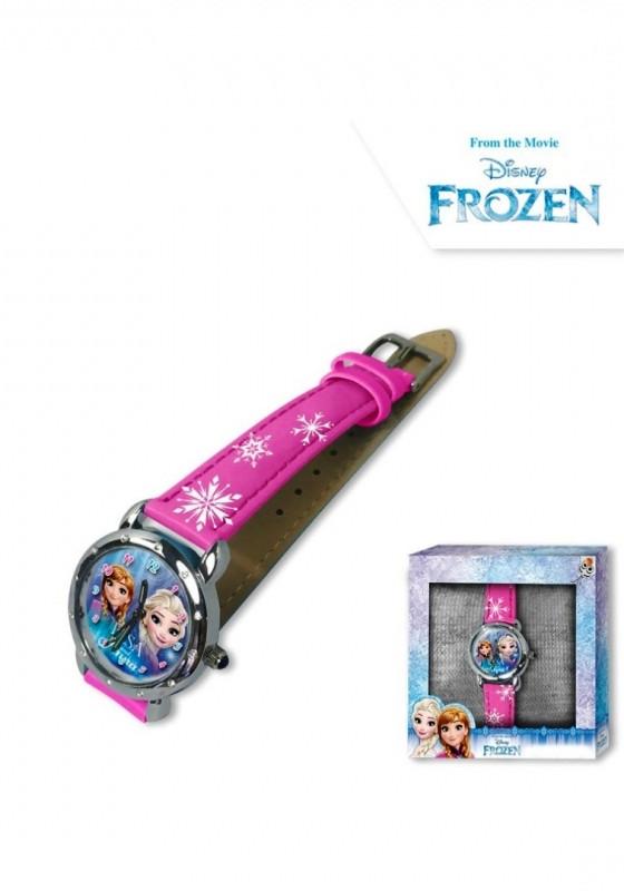 Dívčí růžové analogové hodinky v krabičce Ledové Království / Frozen / Anna a Elsa / vločky