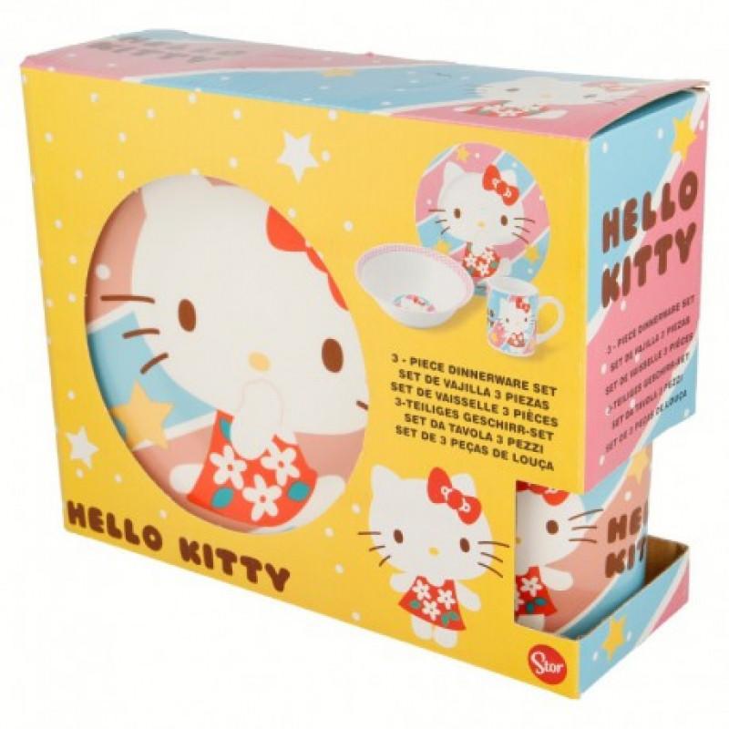 Keramická jídelní sada Hello Kitty / 3 dílná