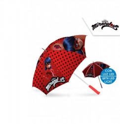 Manuální deštník s LED světlem Miraculous Ladybug / Zázračná beruška / 45 cm