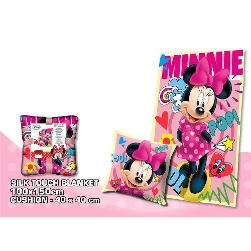 Dívčí hřejivá sada Myška Minnie / Minnie Mouse / polštář a fleecová deka