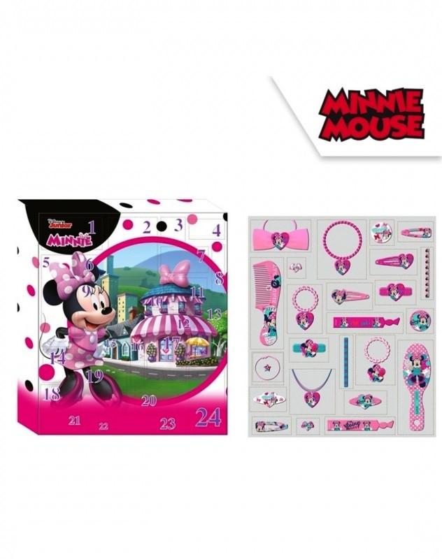 Dívčí adventní kalendář s bižuterií a vlasovými doplňky Myška Minnie / Minnie Mouse