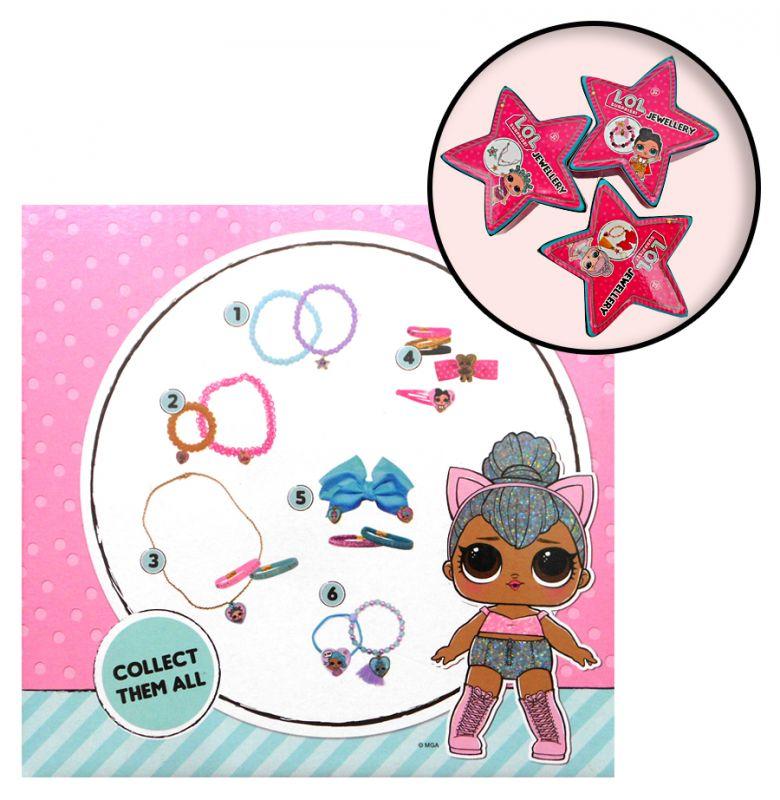 Dívčí sada bižuterie a vlasové doplňky LOL v krabičce ve tvaru hvězdy