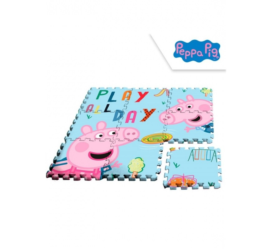 Dětské pěnové puzzle Peppa Pig / Prasátko Pepa  - 9 dílů /  90 x 90 cm