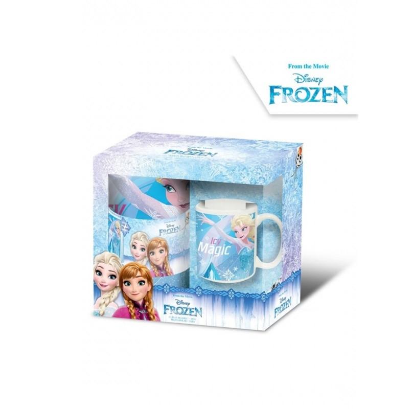 Dárková sada Frozen / Ledové království / Hrnek a fleecová deka / deka 100 x 150, hrnek 315 ml