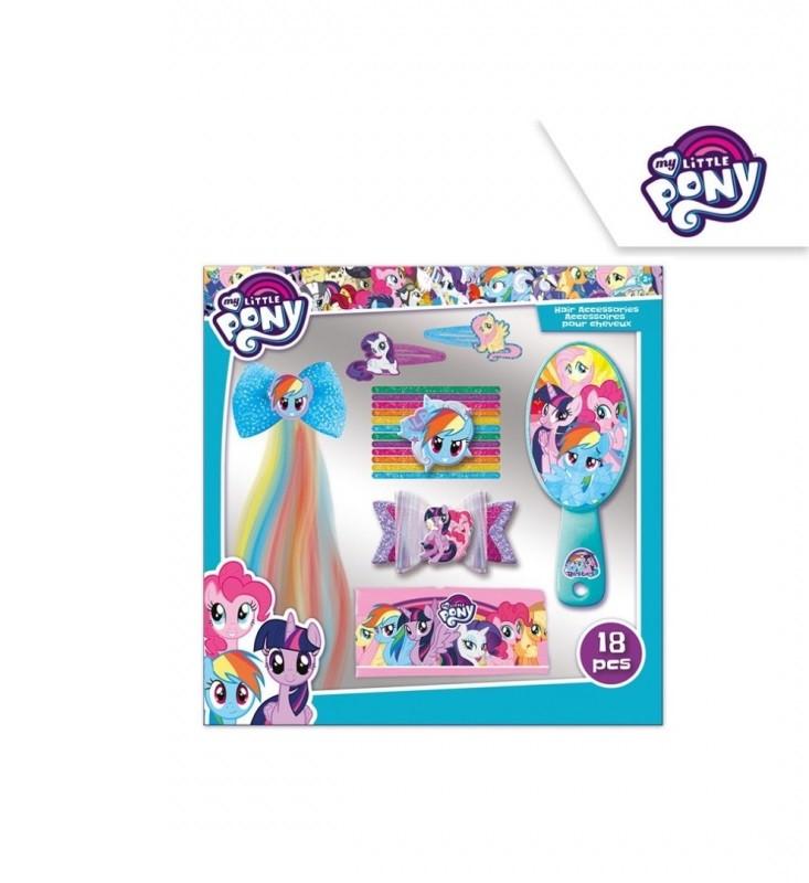 Vlasová bižuterie My Little Pony / sponky, gumičky, hřeben, čelenka / 28 x 24 x 3,8 cm / veci z filmu