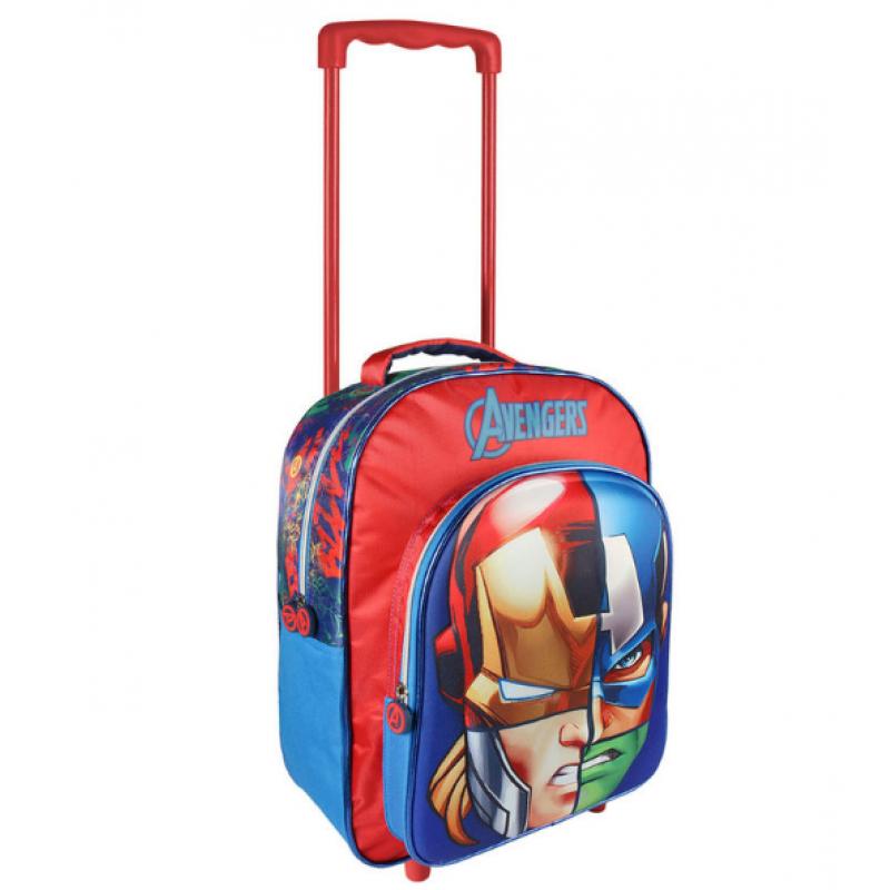 Chlapecký dvoukomorový 3D batoh na kolečkách s hrdiny Avengers / Iron Man Kapitán Amerika Thor Hulk 31 x 41 x 13 cm