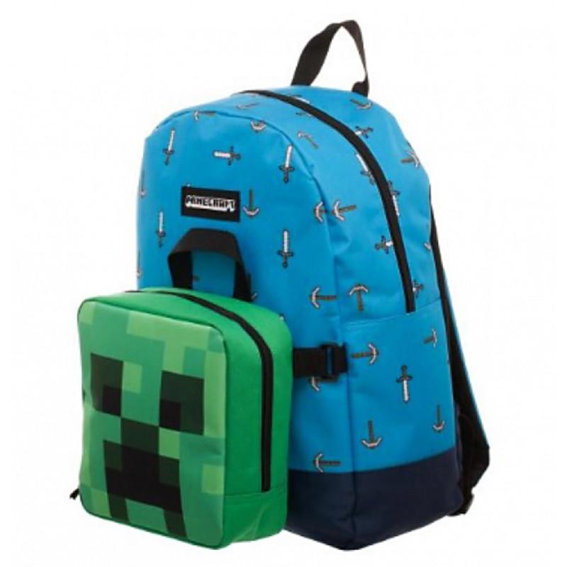 Chlapecký batoh s odnímatelným lunch boxem Minecraft Sword Axe 31 x 47 x 10 cm
