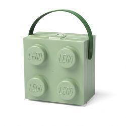 Plastový lunch box s úchytem / krabička na svačinu ve tvaru kostičky Lega zelená 17 x 17 x 12 cm