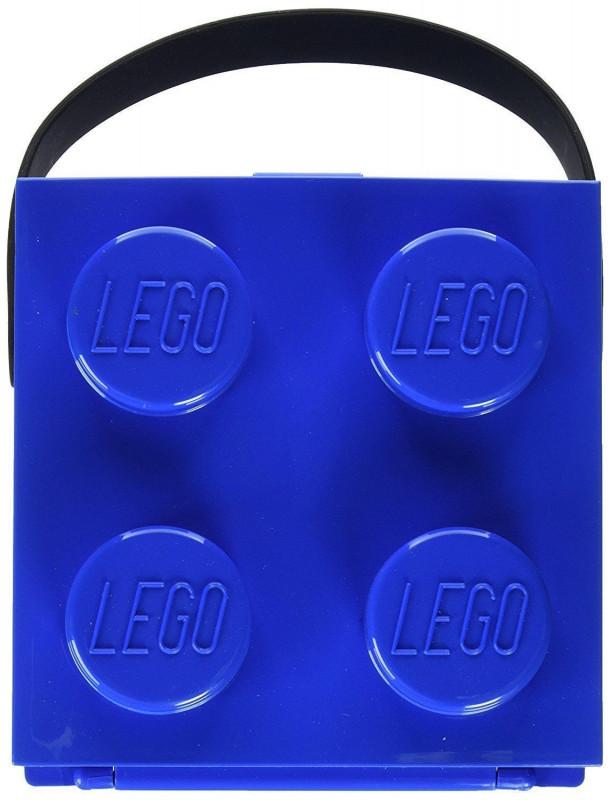 Plastový lunch box s úchytem / krabička na svačinu ve tvaru kostičky Lega modrá 17 x 17 x 12 cm