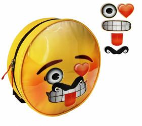 Dětský kulatý batoh Smajlíci / Emoji s odnímatelnými nálepkami / výrazy 28 x 28 x 7 cm