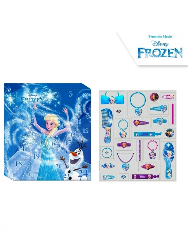 Dívčí adventní kalendář s bižuterií a vlasovými doplňky Frozen / Ledové Království