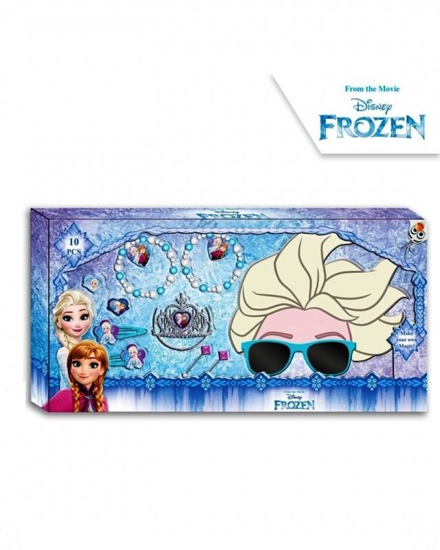 Sada bižuterie / vlasových doplňků a 3D brýlí Frozen / Ledové Království / Elsa
