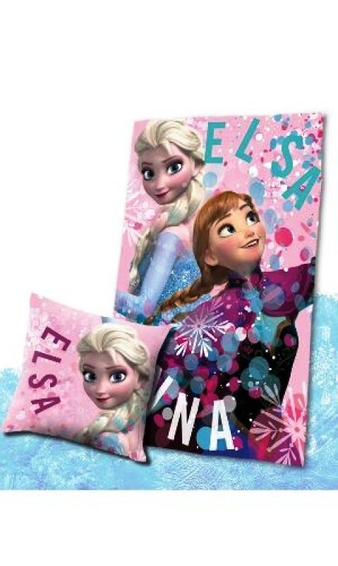 d7d05aec854 Dívčí hřejivá sada Anna a Elsa   Frozen   Ledové království   polštář a  fleecová deka