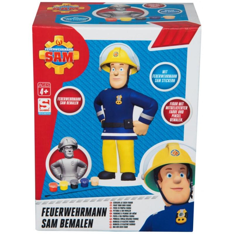 Sádrová figurka k vybarvení + barvičky Požárník Sam / Fireman Sam / 9 x 18 x 14 cm