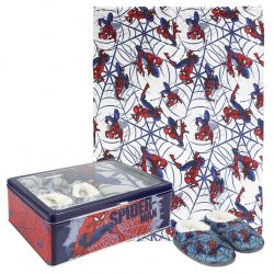 Dárková sada v kovové krabičce s Pavoučím mužem Spidermanem / fleecová deka / měkká domácí obuv / velikost 30 / 31