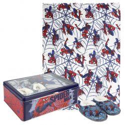 Dárková sada v kovové krabičce s Pavoučím mužem Spidermanem / fleecová deka / měkká domácí obuv / velikost 32 / 33