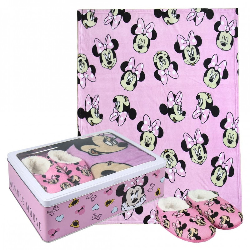 Dárková sada v kovové krabičce Myška Minnie / Minnie Mouse / fleecová deka / měkká domácí obuv / velikost 26 / 27