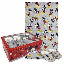 Dárková sada v kovové krabičce Myšák Mickey / Mickey Mouse / fleecová deka / měkká domácí obuv / velikost 30 / 31 / vecizfilmu