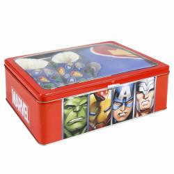 Dárková sada v kovové krabičce s hrdiny Avengers / fleecová deka / měkká domácí obuv / velikost 30 / 31 / vecizfilmu