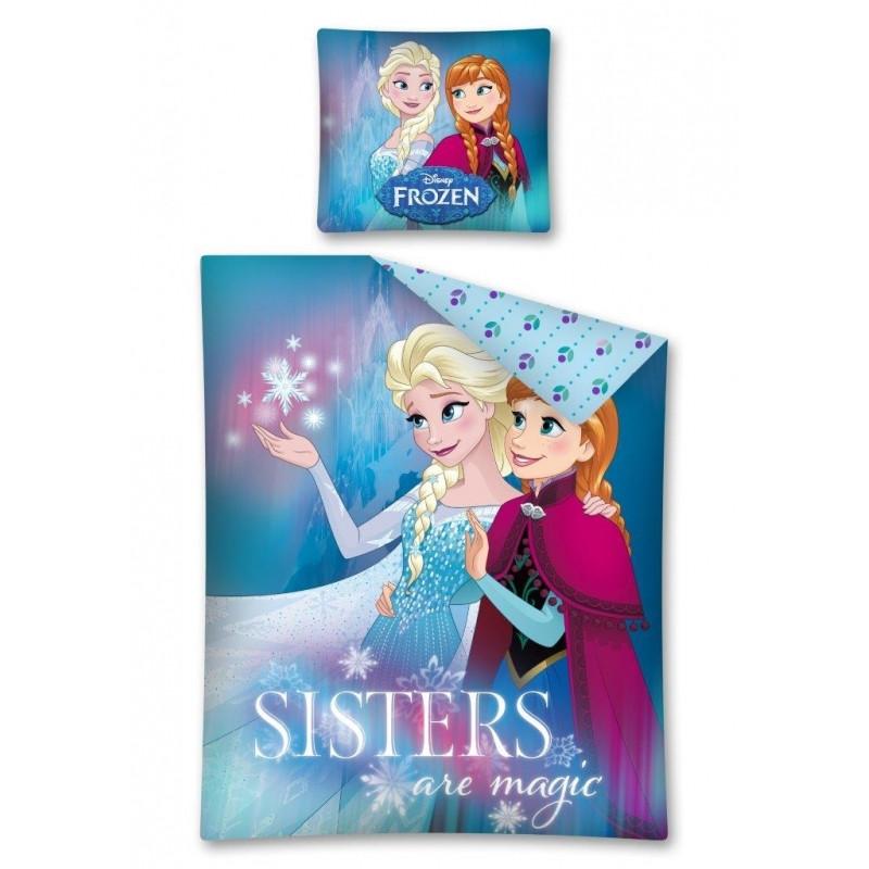 Dívčí bavlněné povlečení Elsa a Anna Sisters / Frozen / Ledové království / rozměr 140 x 200 cm a 70 x 80 cm