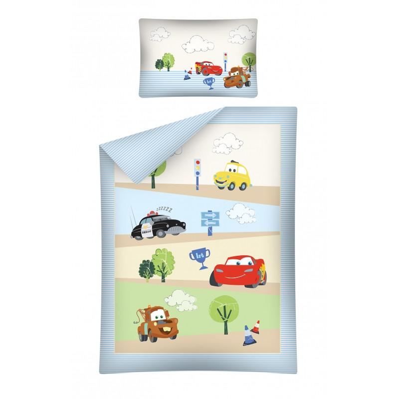 Bavlněné povlečení do malé postýlky se závodníky Cars / Auta / Blesk McQueen Burák rozměr 100 x 135 cm a 40 x 60 cm