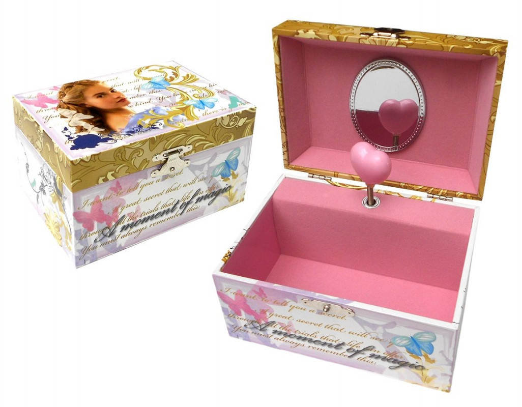 Hrající šperkovnice se zrcátkem Popelka / Cinderella 15 x 8 x 11 cm