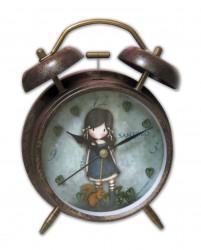 Dívčí kovový budík s motivem panenky Gorjuss / veverka / vecizfilmu