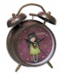 Dívčí kovový budík s motivem panenky Gorjuss / srdce / vecizfilmu