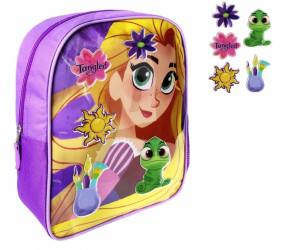 Dívčí batoh s přídavnými ozdobami na přední stranu Na vlásku / Tangled 26 x 34 x 10 cm / vecizfilmu