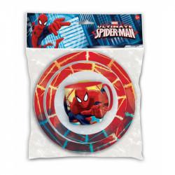 Plastová dětská jídelní sada Spiderman / 3 dílna / hrnek, miska, talíř