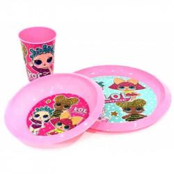 Plastová dívčí jídelní sada LOL Surprise / kelímek, miska, talířek / veci z filmu