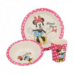 Bambusová jídelní sada Minnie Mouse / kelímek, miska, talíř / veci z filmu
