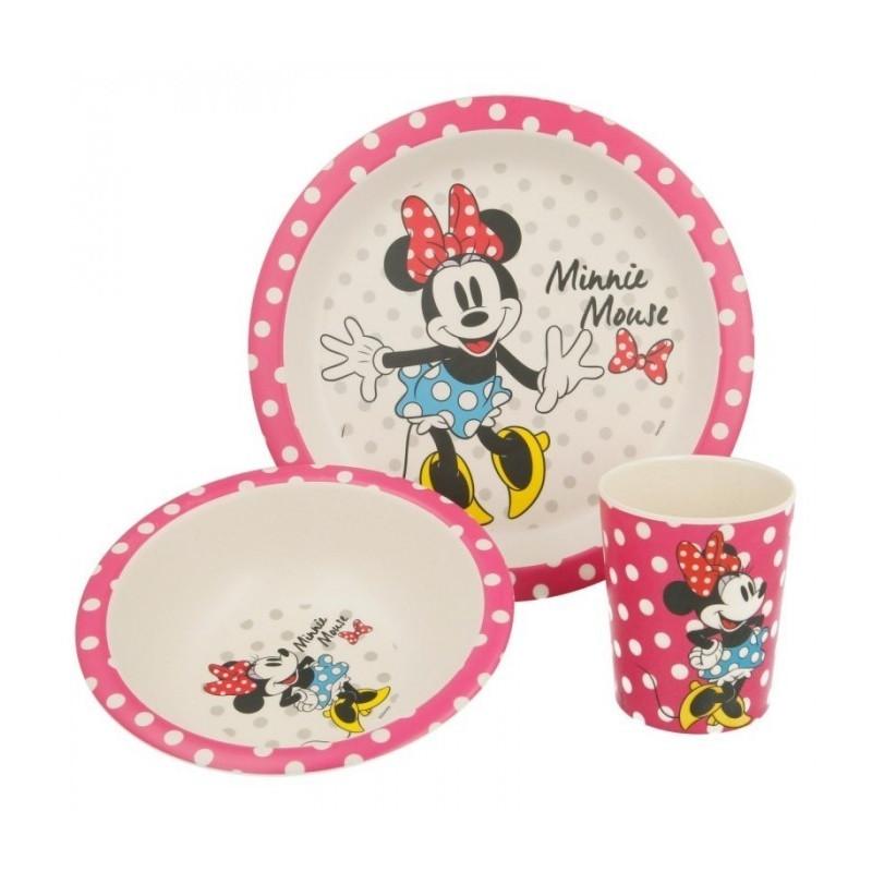 Bambusová jídelní sada Minnie Mouse / kelímek, miska, talíř