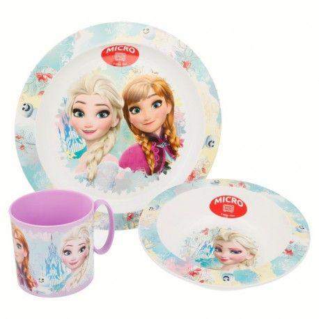 Dívčí sada 3 ks plastového nádobí / talíř / miska / hrnek Elsa a Anna / Frozen / Ledové Království