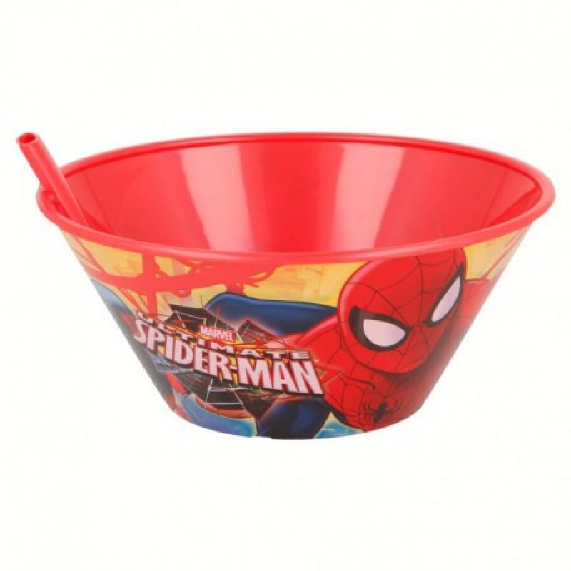 Chlapecká plastová miska s vestavnou slámkou / brčkem s Pavoučím mužem Spidermanem 500 ml