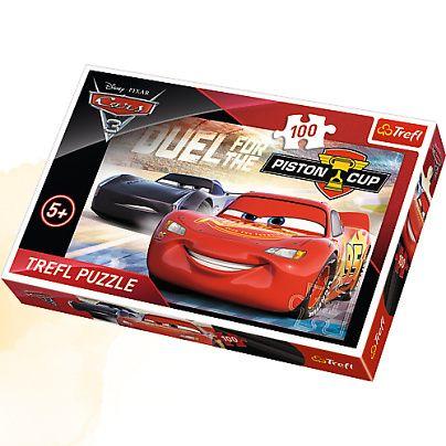 Chlapecké puzzle s Bleskem McQueenem / Cars / Piston Cup 100 dílků